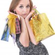 Funny girl with shopping bags — Stock Photo #8887066