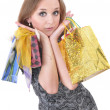 Stock Photo: Funny girl with shopping bags
