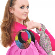 Stock Photo: Portrait of young womwith pink bag