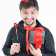 Funny man with box and heart in hands — Stock Photo #8887838
