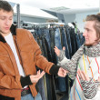 Stock Photo: Friends in wear shop