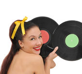 Happy smiling girl with vinyl plate — Stock Photo