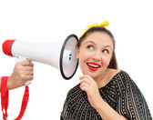 Interested woman with megaphone — Stock Photo