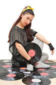 Stylish girl with vinyl discs — Stock Photo