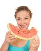 Young woman eat juicy watermelon — Stock Photo