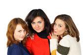 Three fresh beautiful girls with pretty eyes — Stock Photo