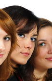 Portrait of three fresh beautiful girls with pretty colorful eye — Stock Photo