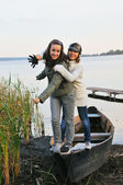 Two pretty girl on boat — Stock Photo