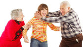 Happy grandparents and granddaughter play — Stock Photo