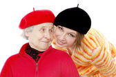 Happy grandmother looking to granddaughter — Stock Photo