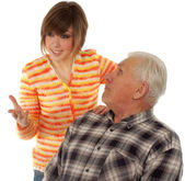 Grandad and granddaughter gossiping about life — Stock Photo
