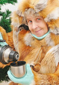 Granny with hot tea — Stock Photo