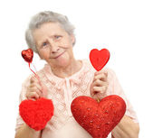 Woman with hearts — Stock Photo