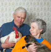 Grandfather with rooster and grandmother with pussy-cat — Стоковое фото
