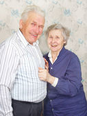 Happy senior couple laugh — Stockfoto