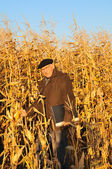 Grandfather in field — Stock Photo