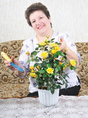 Nice woman with flower — Stock Photo