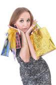 Funny girl s nákupní tašky — Stock fotografie