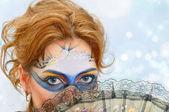 Piękna kobieta w karnawałowe maski — Zdjęcie stockowe