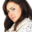 Portrait of pretty young model dressed in duotone and white knit — Stock Photo #8912307