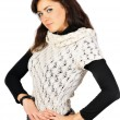 Stock Photo: Beautiful smiling girl dressed in duotone and white knitted jerk