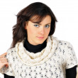Portrait of beautiful girl dressed in duotone and white knitted — Stock Photo