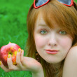 Nice girl with apple — Stock Photo