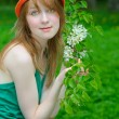 Girl hold twig — Stock Photo