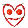 Face from paprica and tomatos — Stock Photo