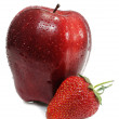 Ripe strawberry with apple — Stock Photo