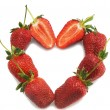 Heart with ripe strawberry — Stock Photo