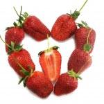Heart from ripe strawberry — Stock Photo