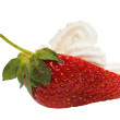 Half of strawberry with cream - Stock Photo