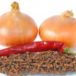 Two onions with pepper — Stock Photo