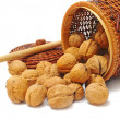 Nuts in basket and mallet — Stock Photo
