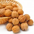 Nuts in basket — Stock Photo