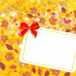 Stock Photo: Card with bow and fall leafs