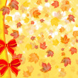 Stock Photo: Maple fall leafs and two red bows