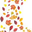 Flying yellow and red leaves - Stock Photo