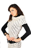 Beautiful smiling girl dressed in duotone and white knitted jerk — Stock Photo