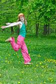 Happy girl on nature — Stock Photo