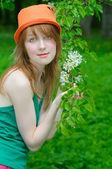Girl hold twig — Stock Photo
