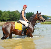 Mulher-cavalo cavalo — Foto Stock