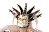 Pretty woman in venus music mask — Stock Photo