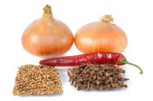 Onion with condiment — Stock Photo