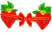 Dos corazones de fresa — Foto de Stock