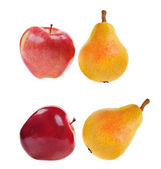 Two red apples and two yellow pears — Stock Photo