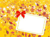Card with bow and fall leafs — Stock Photo