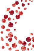 Vliegende rode appels en de herfst bladeren — Stockfoto