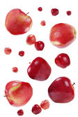 Flying red apples — Stock Photo